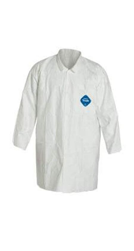 dupont tyvek tys lab coat frock  snap front