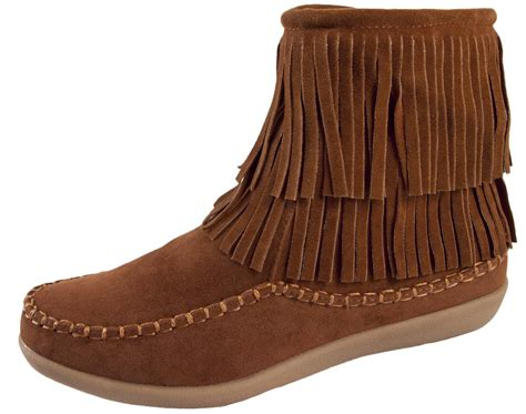 Girls Womens Tassel Ankle Boots Faux Suede Flat Moccasin