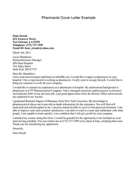 Sle Cover Letter For Pharmacist by Cover Letter Template Pharmacist 2 Cover Letter Template