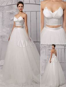 two pieces crop top ball gown wedding dress with tulle With top and skirt wedding dress