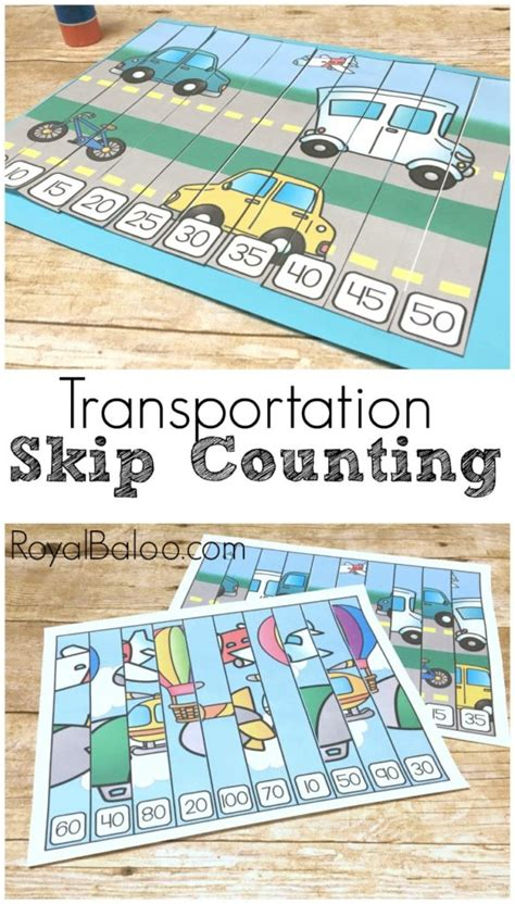 transportation skip counting puzzles  hands  math