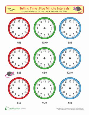 Telling Time To Five Minutes Draw The Time  Worksheet Educationcom