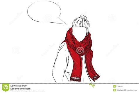 Isolated Vector Illustration Of Female Wearing Red Patterned Scarf With Speech Bubble Stock