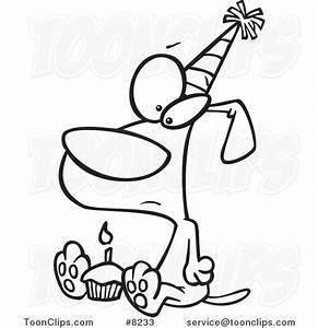 Cartoon Black and White Line Drawing of a Lonely Birthday ...