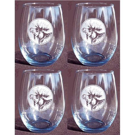Etched Moose Stemless Red Wine Glass   Set of Four