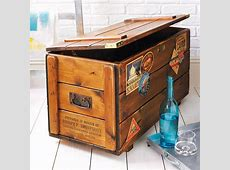 personalised storage trunk vintage travel blanket chest by
