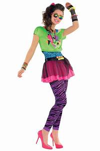 Teens 1980s Totally Awesome Costume New Girls Neon Party Outfit Tutu Fancy Dress | eBay