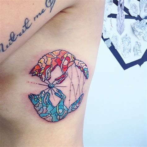 psychedelic foxes tattoo  ribs  tattoo ideas gallery