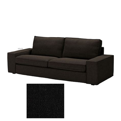 ikea kivik 3 seat sofa slipcover cover teno black ten 246