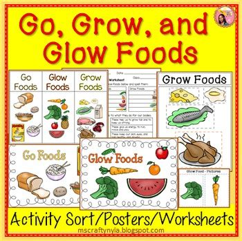 go glow and grow foods sorting activity worksheet and
