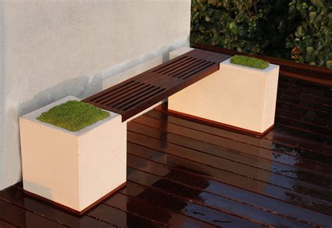 concrete  ipe bench modern deck los angeles