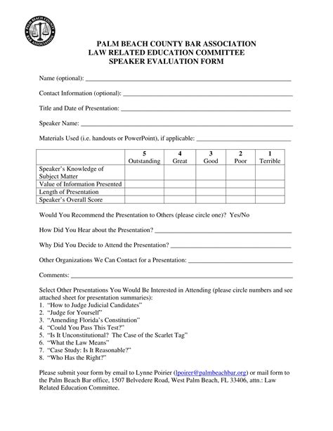 speaker evaluation forms   format