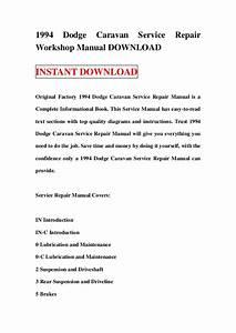 1994 Dodge Caravan Service Repair Workshop Manual Download