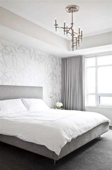modern silver gray bedroom  silver metallic wallpaper