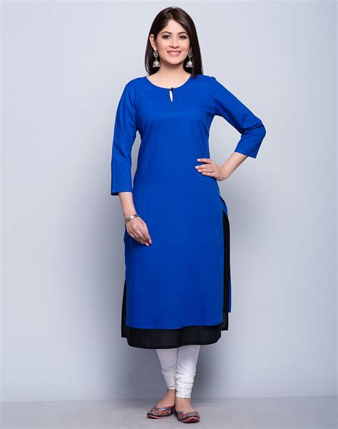 Buy Fabindia Blue/Black Cotton Mull Double Layered Top Stitch Long Kurta online   Fabindia.com