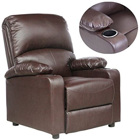 leather recliner drink holder and sofa chair on