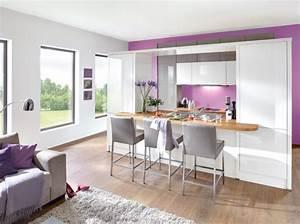 Decoration salon avec cuisine ouverte for Petite cuisine équipée avec meuble de salle a manger complete
