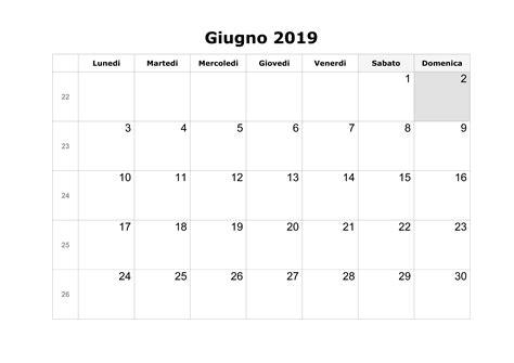 calendario annuale 2019 da stare gratis calendario giugno 2019