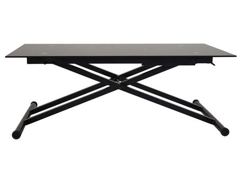 plateau canapé table basse relevable en verre lift coloris noir vente