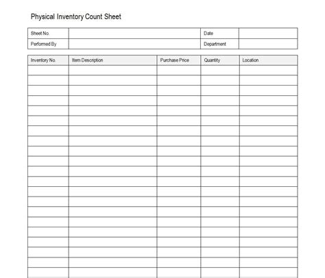 inventory count sheet accounting timesheet
