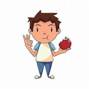 Boy Eating Apple Clipart - ClipartXtras