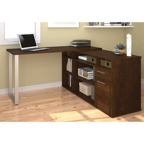 bestar solay l shaped desk in chocolate 29420 69