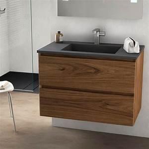 cordoue meuble salle de bain bois noyer 81 cm vasque With meuble salle de bain pierre