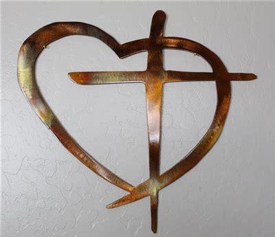 heart cross metal wall art decor