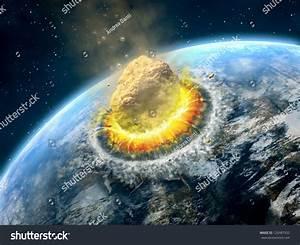 Big Asteroid Crashing On Surface Earthlike Stock ...