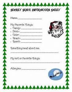 Secret Santa Information Sheet by Diane Ireland