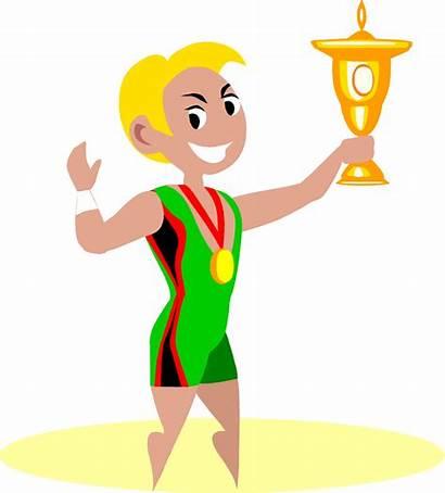 Clip Winning Cartoon Wrestler Trophy Medal Clipart