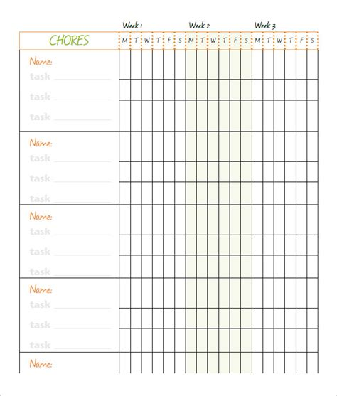Free Chore Chart Template by 10 Family Chore Chart Templates Pdf Doc Excel Free