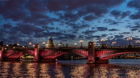 london city landscape night cathedral river thames