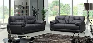 Leather 3 piece sofa set franco leather sofa militariart for 3 piece black modern sectional sofa