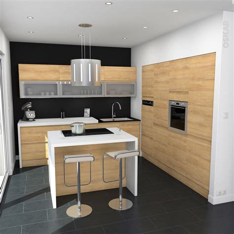 plan de travail cuisine chene cuisine en bois sans poignée ipoma chêne naturel plans