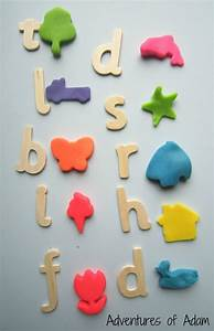 naming initial sounds with play dough cutters With playdough letter cutters