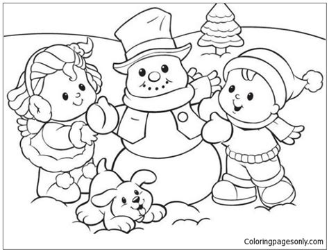 Winter Coloring Pages Winter With Snowman And Puppy Coloring Page