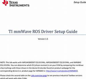 Ti Mm Wave Ros Driver Setup Guide
