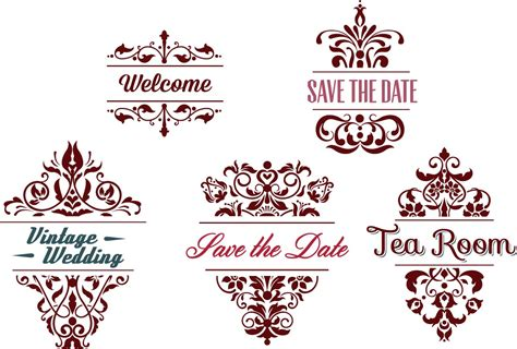 Ornamental wedding frames vector Free download