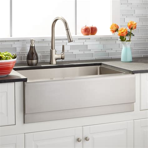 "30"" Optimum Stainless Steel Farmhouse Sink  Beveled Apron"
