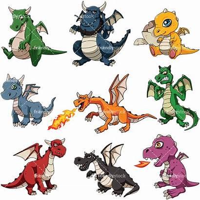 Dragons Mythical Cartoon Clipart Vector Dragon Fire
