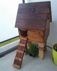 Fabriquer Meuble Bois Facile : cabane a chat en bois de palette maison chatrmante et matouvue construction facile avec tuto ~ Nature-et-papiers.com Idées de Décoration