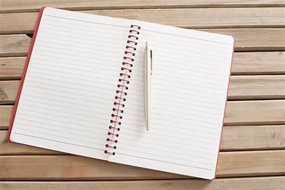 Notebook Open Pen Blank Table Wooden Spiral
