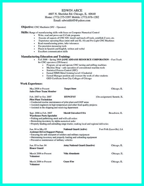 writing  qualifications  cnc machinist resume