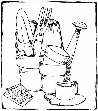 Gardening Tools Coloring Garden Pages Printable Drawing