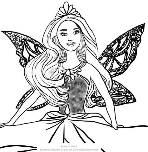 Barbie super principessa da stampare e colorare per bambine. Disegno di Barbie principessa Catania con viso in primo ...