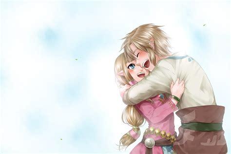 Blonde Hair Blue Eyes Hug Link Zelda Pointed Ears