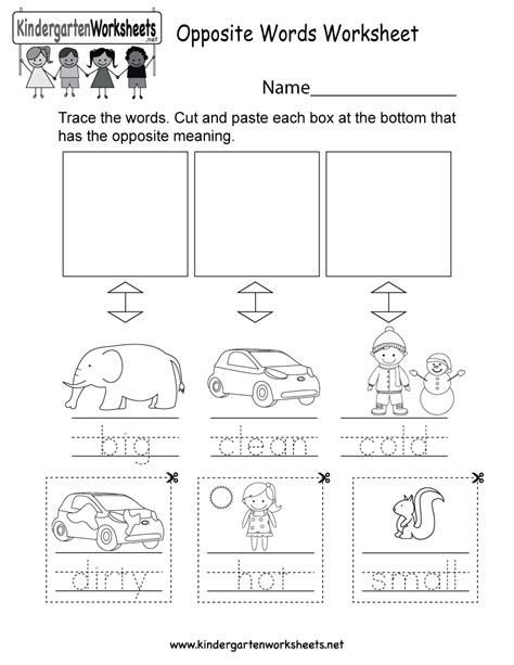 opposites worksheet  printable shawngroves blog