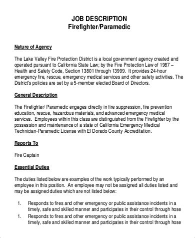 Firefighter Resume Exles by Paramedic Description Teacheng Us
