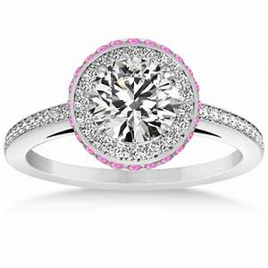 Diamond halo engagement ring pink sapphire accents 14k w for Wedding ring sets with sapphire accents